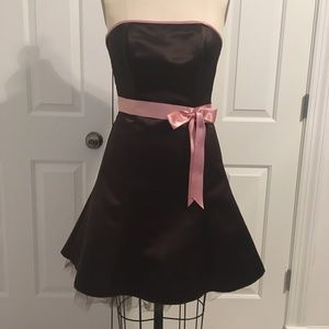 Jessica McClintock Brown with Pink Bow Strapless